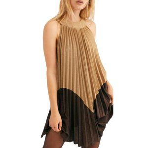 Free People Love Halter Plated Gold Mini Dress S